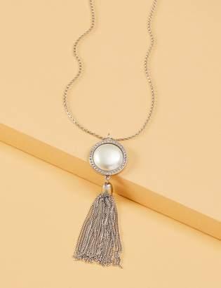 Lane Bryant Faux Pearl Pendant Tassel Necklace