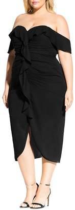 City Chic Plus Off-the-Shoulder Ruffle Midi Dress