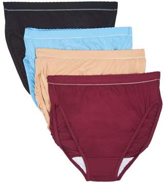 Breezies Set of 4 Cotton Hi-Cut Panties with UltimAir Lining