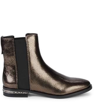 Franco Sarto Racine Embossed Snakeskin Leather Ankle Boots