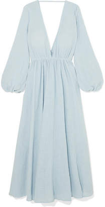 Kalita - Aphrodite Gathered Cotton-gauze Maxi Dress - Sky blue