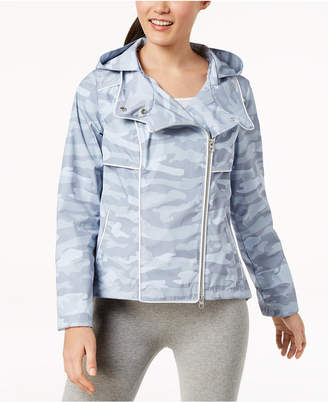 Calvin Klein Spectator Printed Asymmetrical-Zip Hooded Jacket