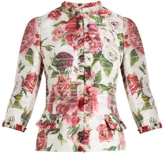 Dolce & Gabbana Peony and rose-print satin jacket