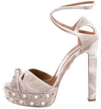 Aquazzura Velvet Platform Sandals