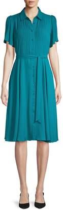 Nanette Lepore Nanette Flutter Sleeve Tie-Waist Shirtdress