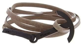 Miansai Modern Anchor on Two-Tone Leather Wrap Bracelet