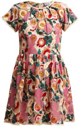 RED Valentino Floral Embroidered Tulle Mini Dress - Womens - Pink Multi