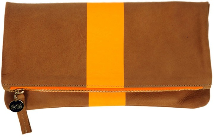 Clare Vivier Fold Over Neon Orange Stripe Clutch