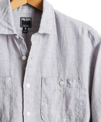 Todd Snyder Slim Fit Linen Two Pocket Shirt in Ash