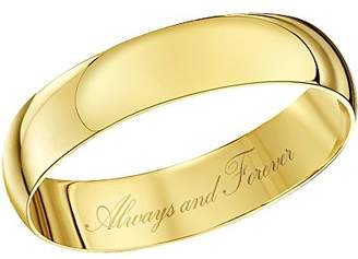 Theia Unisex 9ct Yellow Gold Heavy D Shape Engraved 'Always and Forever' Polished 4mm Wedding Ring - Size Y