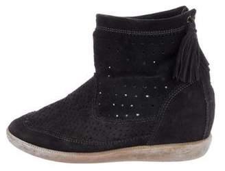 Isabel Marant Suede Tassel Wedge Sneakers