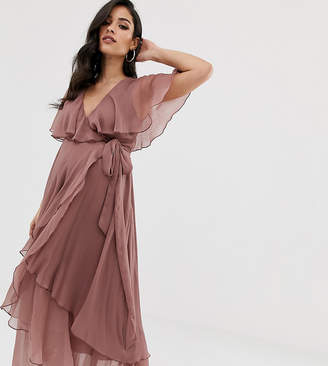 489155dbe6f Asos DESIGN Maternity maxi dress with cape back and dipped hem