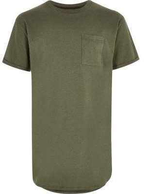 River Island Boys khaki green curved hem t-shirt