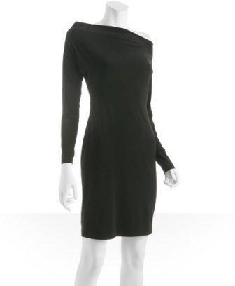Norma Kamali black jersey off-shoulder dress