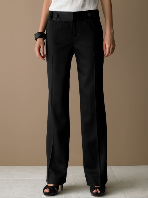Banana Republic Contour jackson wide-leg satin trim pant - Black
