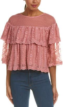 Champagne & Strawberry Embroidered Lace Top