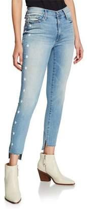 Black Orchid Miranda Bath Water Off-Step Hem High Rise Skinny Jeans w/ Stars