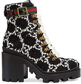 Gucci Women's GG Tweed Combat Boots
