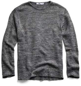 Inis Meáin Washed Linen Roll Neck Sweater in Dark Grey
