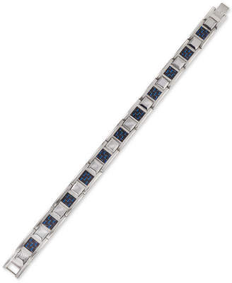Esquire Men's Jewelry Link Bracelet in Blue Carbon Fiber, Stainless Steel and Tungsten