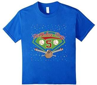 Kids 5th fifth 5 five years happy birthday boy baseball t shirts