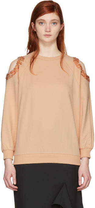 Pink Sequin Cut-Out Sweatshirt