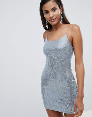 Miss Selfridge sequin mini dress in silver