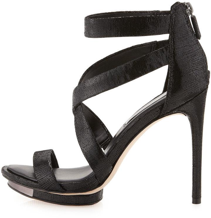 BCBGMAXAZRIA Lemour Cross-Strap Sandal, Black