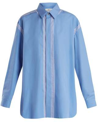 Maison Margiela Oversized Point Collar Cotton Shirt - Womens - Blue