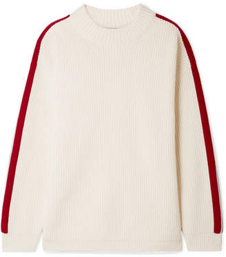 Burberry Iowa Oversized Striped Wool And Cashmere-blend Sweater - Ivory