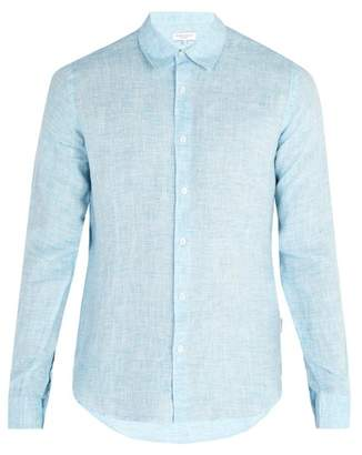 Orlebar Brown Morton Tailored Linen Shirt - Mens - Blue