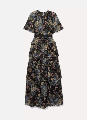 Needle & Thread Tiered Floral-print Fil Coupé Chiffon Gown - Black