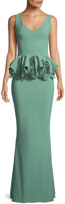 Chiara Boni Senta Rose Peplum Sleeveless Gown