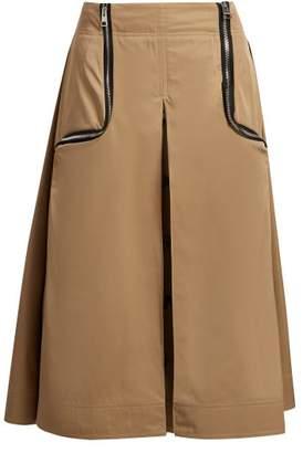 J.W.Anderson Zipped Gabardine Midi Skirt - Womens - Beige