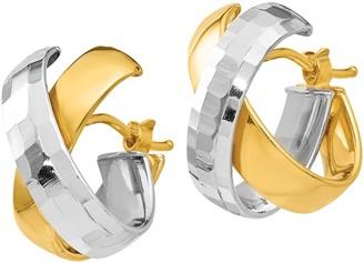 Italian Gold Two-Tone X Hoop Earrings, 14K