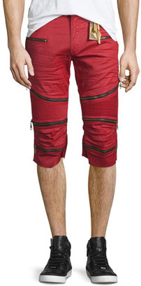 Robin's Jeans The Show Knee-Panel Moto Shorts, Red $475 thestylecure.com
