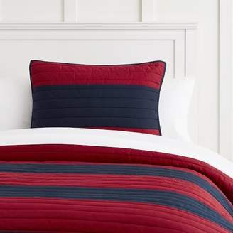 Pottery Barn Teen Rugby Stripe Quilt, Full/Queen, Navy/Red