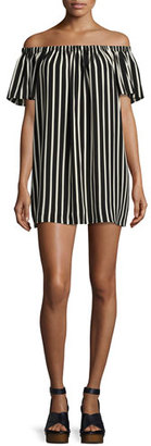 French Connection Polly Plains Off-the-Shoulder Striped Dress $118 thestylecure.com
