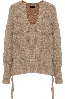 Line Lace-Up Marled Cotton-Blend Sweater