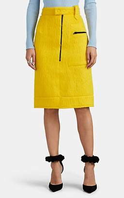 Kwaidan Editions Women's Fuzzy-Knit Zip-Front Pencil Skirt - Yellow