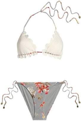 Zimmermann Crocheted And Floral-print Triangle Bikini