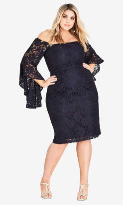 City Chic Mystic Lace Dress - Navy