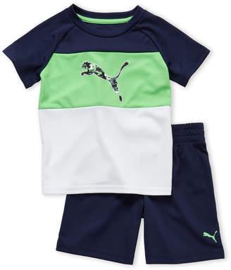 Puma Toddler Boys) Two-Piece Pixelated Logo Tee & Shorts Set