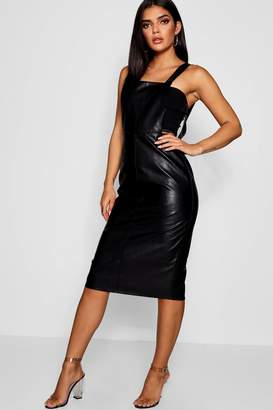boohoo Madison Leather Look Midi Pinafore Dress