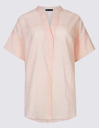 Marks and Spencer Linen Rich Notch Neck Half Sleeve Blouse