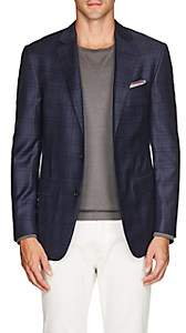 Pal Zileri MEN'S PLAID WOOL TWO-BUTTON SPORTCOAT-NAVY SIZE 40 R