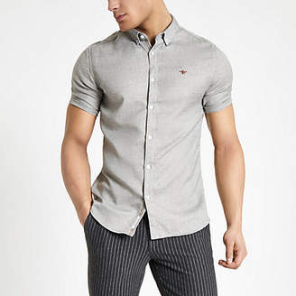 River Island Mens Light Grey slim fit herringbone shirt