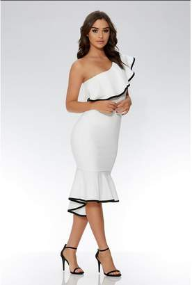 Quiz Cream And Black One Shoulder Dip Hem Dress