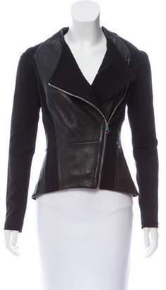 Ted Baker Leather-Paneled Zip-Up Jacket