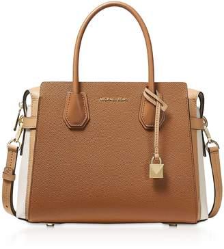 Michael Kors Mercer Medium Tri-Color Pebbled Leather Belted Satchel Bag